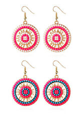 Fashion Earring Circle Hot Bead Earrings Pearl National wind Bohemian 1 Pair