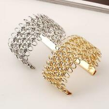 Fashion Women Multilayer Weave Hollow Out Wide Open Wrap Cuff Bangle Bracelet