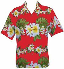 Hawaiian Shirt Mens Hibiscus Floral Print Aloha Party Beach Camp