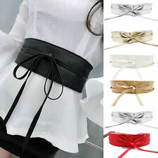 Womens Soft Leather Wide Self Tie Wrap Around Obi Waist Band Bowknot Dress Belt