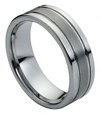 Tungsten Ring Men Wedding Band Polished Shiny Double Grooved Brushed Center 8mm