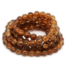 Coffee Brown Wholesale 8mm Round Crackle Glass Beads G8421 - 50, 100 Or 200PCs