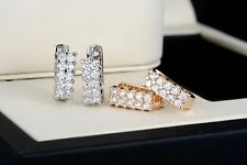 Fashion 18k Gold/Silver Plated Diamante Crystal Small Hoop Earrings-Uk Seller