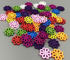 50/100 Pcs Random Mixed Flower Shape Wood Sewing Buttons 20mm paste decoration