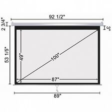 """100""""-16:9 Manual Pull Down Projector Screen Projection Matte White HD Movie. Shi"""