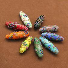 5 x Delicate Colored glaze Flower Carved DIY Beads Pendant