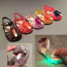 Summer Cartoon Kids LED Luminous Sandals Girl Pearl Jelly Soft Shoes New Toddler