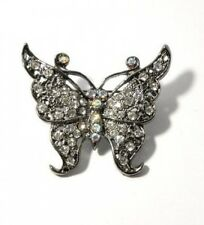 VINTAGE RETRO LOOK AB CRYSTAL TONAL BUTTERFLY BROOCH. Free Delivery