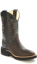Old West Black Youth Boys Corona Calf Leather Comfort Cowboy Western Boots