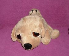 "Russ LIL PEEPERS Tan 10"" Plush *BARNEY* Big Eyes DOG w/PUPPY~SQUEAKS! ~ SO CUTE!"