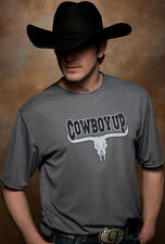 Cowboy Up Mens Gray Cotton Longhorn Skull Logo S/S Graphic Tee T-shirt