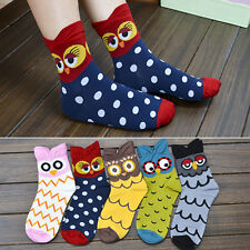 Fashion Women's Korean Mid-Calf Socks Cartoon Soft Owl Print Cotton Socks Hot