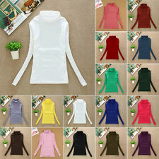 New Hot Women's Casual Slim Turtle Neck Long Sleeve T-Shirts Blouses Multi Color