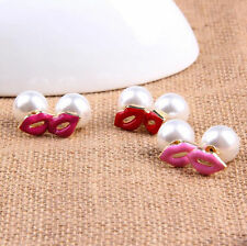 Women Pearl Sexy Red Pink Mouth Lips Ear Stud Earrings Jewelry Creative Fashion