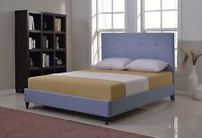 King Queen Twin Full Size Blue Platform Bed Frame Upholstered Headboard Slats