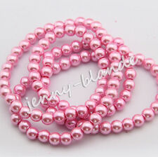 Wholesale Pink Glass Pearl Gemstone Spacer Loose Beads Jewelry Finding 4-12mm