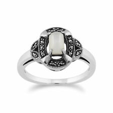Gemondo 925 Sterling Silver 0.50ct Mother of Pearl & Marcasite Art Deco Ring