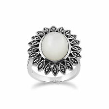 Gemondo 925 Sterling Silver 3.8ct Mother of Pearl & Marcasite Ring