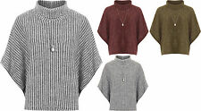 Womens Knitted Poncho Cape Top Ladies Necklace Cowl Neck Baggy Short Sleeve