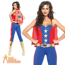 Sexy Superhero Costume Ladies Comic Book Fancy Dress Outfit Wonder Woman
