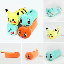 Pokemon Pikachu Pen Pencil Cosmetic Case Plush Doll Pouch Bag School Stationery