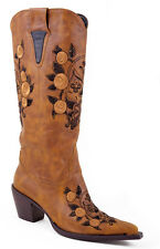 Roper Womens Fashion Tan Faux Leather 14in Skull Embroidery Western Boots