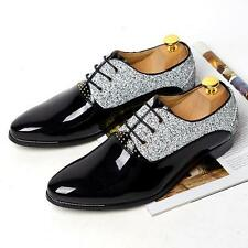 Stylish Mens Faux patent leather Dress formal Wedding Lace-up Chunky heels Shoes