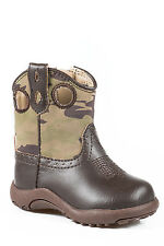 Roper Cowbabies Newborn Brown Faux Leather Western Camo Boots