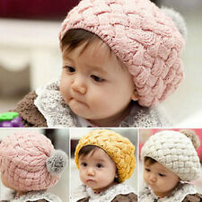 Cute Newborn Baby Girls Infant Toddler Crochet Knit Ball Warm Cap Beanie Cap Hat