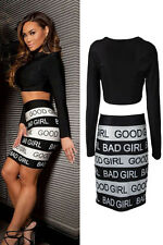 Ladies Long Sleeve Crop Top and Short Good Girl Bad Girl Print Skirt Dress Set