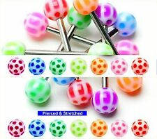 Tongue Bars 1.6mm x 16mm Barbells Surgical Steel with 6mm Soccer Balls