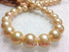 """ROUND rare AAA++ 17""""13-15mm real NATURAL south sea gold pink pearl necklace 14K"""