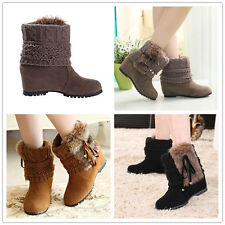 Winter Women's Warm Snow Boots Suede leather Shoes Fashion High-top Moccasins