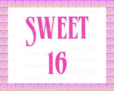 Sweet 16 Birthday ~ Frosting Cake Topper ~ Edible Image ~ D21827