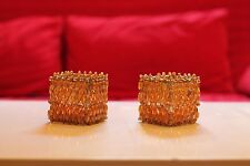 Tealight Candle Holder Votives, Beaded, Different Styles, Gift sets,Orange,Green