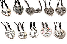 Best Friends Ying Yang Silver Pewter Charm Necklace Pendant Jewelry