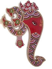 Indian Wall Decor Artwork from India - Hindu God Ganesh with Om Wall Hanging Pai