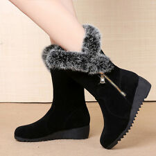 NEW Women's Winter Snow Boots Fashion Plush Warm Suede Shoes Heighten Moccasins