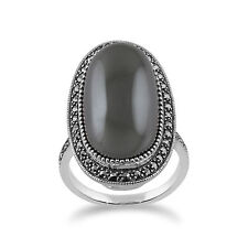Gemondo Sterling Silver Hematite & Marcasite Art Deco Oval Cocktail Style Ring