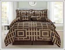 Chocolate Cooper  Jacquard 7pc * KING  QUEEN Comforter Set + Valance + 3 Cushion