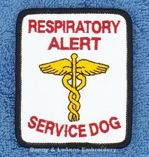 RESPIRATORY ALERT SERVICE DOG PATCH 2.5X3 INCH Danny & LuAnns Embroidery support