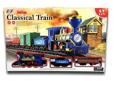 Classic Traditional Train Track Set With Light & Sound & Smoke Blue 15Pcs. Deliv