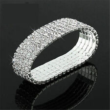 Bling Clear Crystal Rhinestone Stretch Bracelet Bangle Wedding Bridal Wristband~