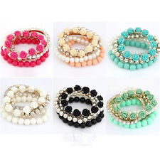 Mix Flower Beads Stretch Bracelet Temperament Alloy Resin Rhinestone Bangle
