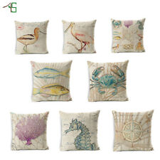 Aquatic Animals And Plant Cushion Covers Cotton Linen Throw Pillow Case For Home