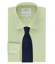Mens Gingham Check Slim Fit Single Cuff Easy Iron Long Sleeve Shirt Top