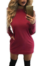 Women Sexy Sporty Long-Hollow-Sleeves Cotton Shift Club Party Cocktail Dress
