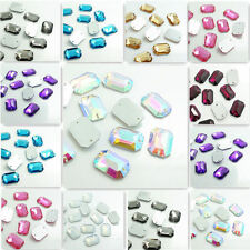 Wholesale 50pcs Sew On Resin Rhinestones Rectangular  Buttons beads DIY 14x20mm