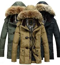 Mens Winter Warm Down Fur blend Hooded Trench Parka Thicken Outdoor Jacket coat