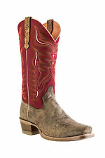 Outlaw Tan Mens Boston Red Leather Stitch Cowboy Western Boots